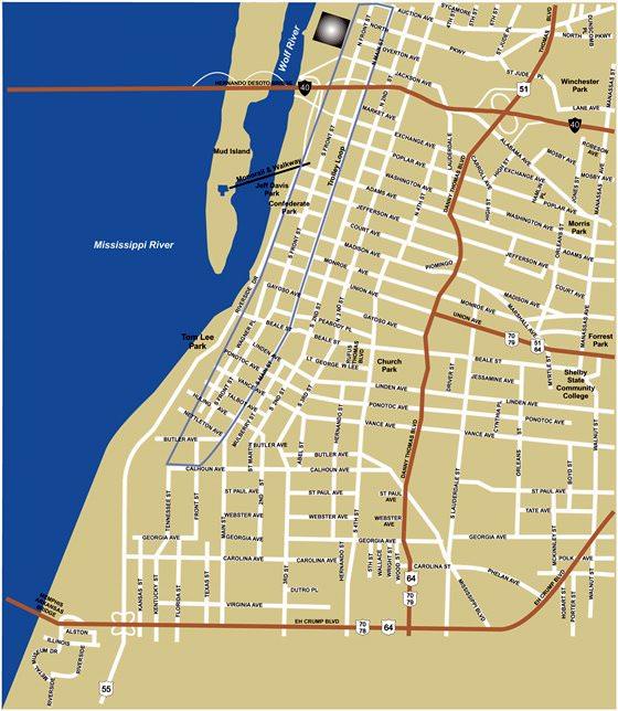 Große Karte von Memphis 3