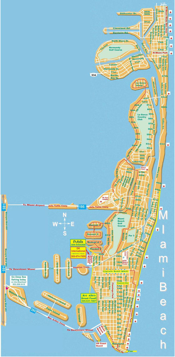 High-resolution map of Miami Beach for print or download