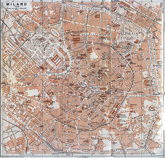 Detailed map of Milan 2
