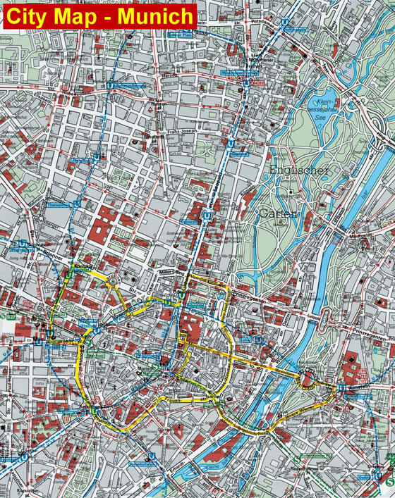 High-resolution map of Munich for print or download