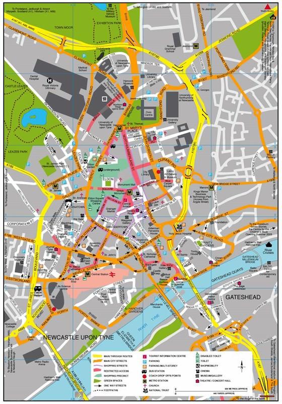 Große Karte von Newcastle upon Tyne 1