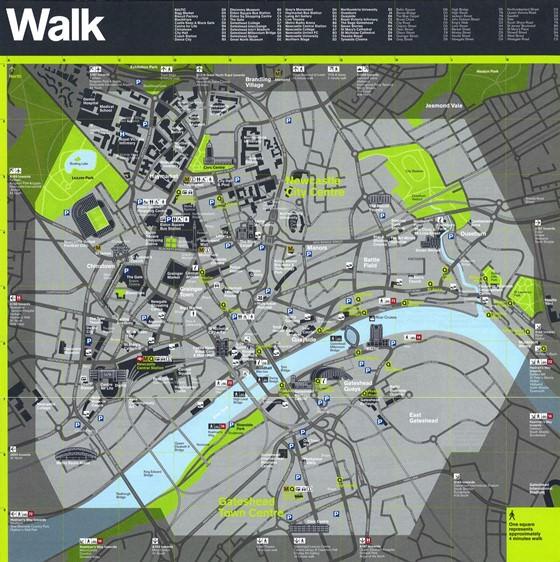 Detaillierte Karte von Newcastle upon Tyne 2