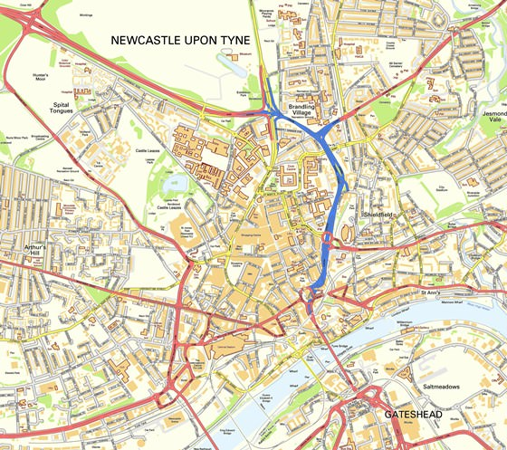 Große Karte von Newcastle upon Tyne 3