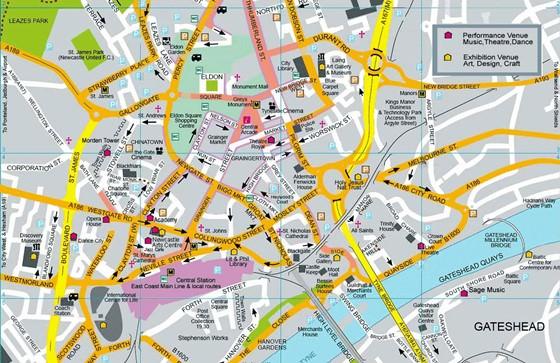 Detaillierte Karte von Newcastle upon Tyne 4