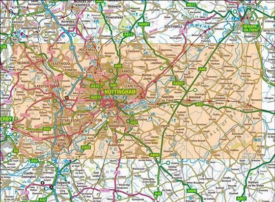 Detaillierte Karte von Nottingham 2