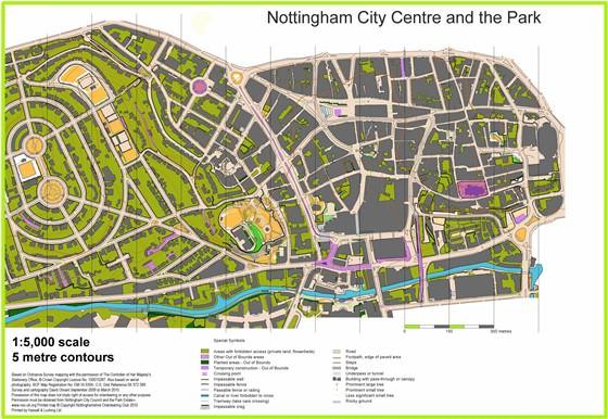 Große Karte von Nottingham 3