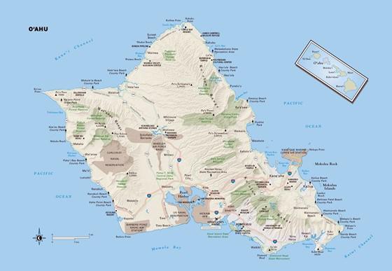 Karte von Oahu Insel 2