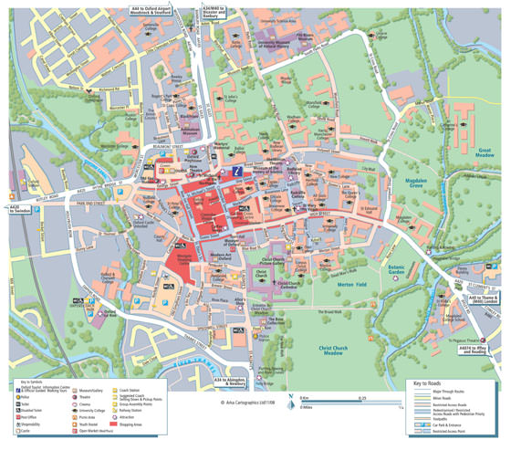 Detailed map of Oxford 2