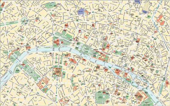 Large map of Paris 1