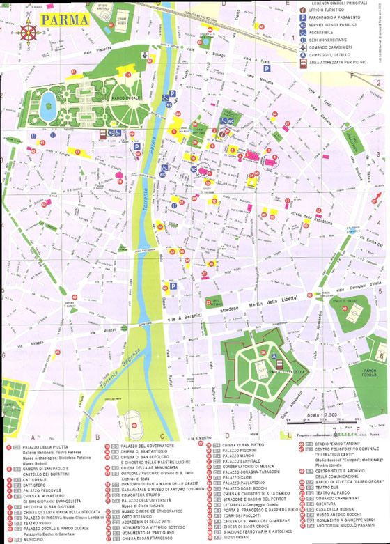 High-resolution map of Parma for print or download