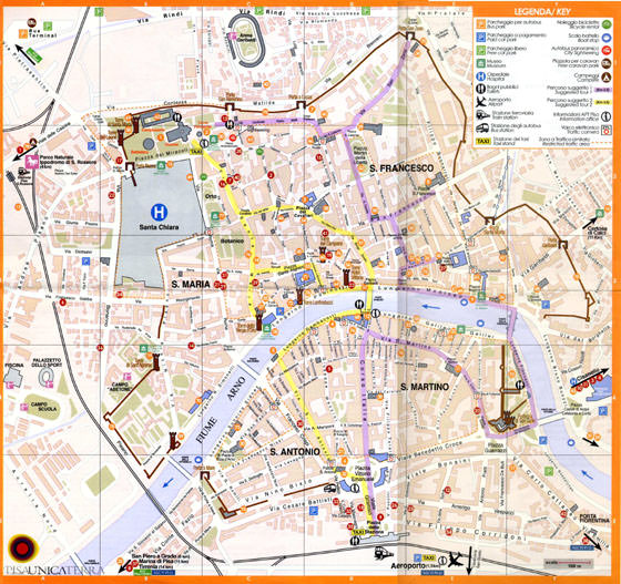 High-resolution map of Pisa for print or download