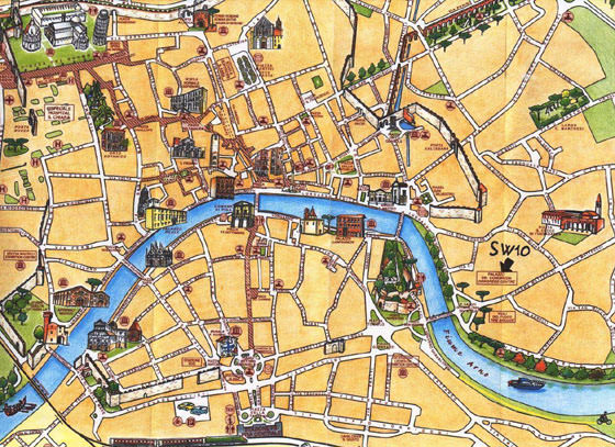 Detailed map of Pisa for print or download