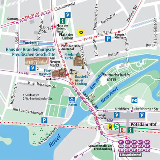 Potsdam Tram Map for Free Download Map of Potsdam Tramway Network