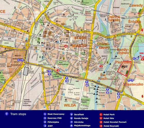 Detailed map of Poznan 2