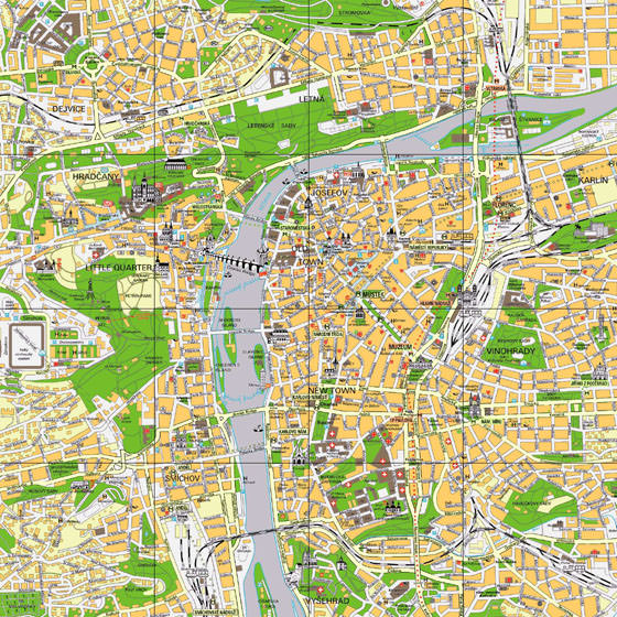 Detailed map of Prague 4