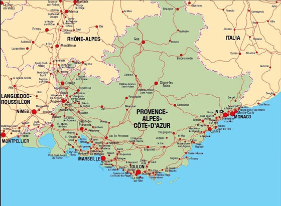 Provence - Cote d'Azur map 1