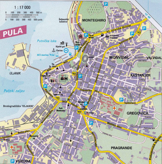 High-resolution map of Pula for print or download
