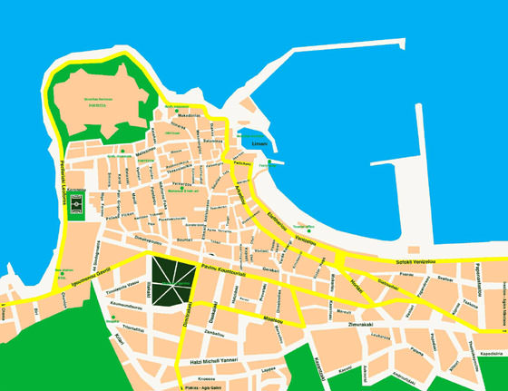 Detailed map of Rethymno 2