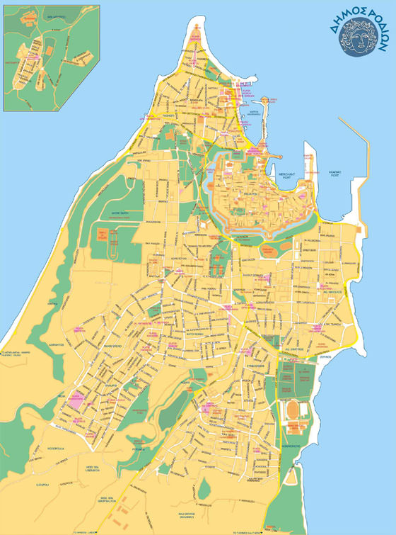 Detailed map of Rodos for print or download