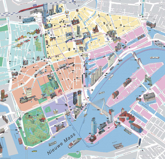 High-resolution map of Rotterdam for print or download