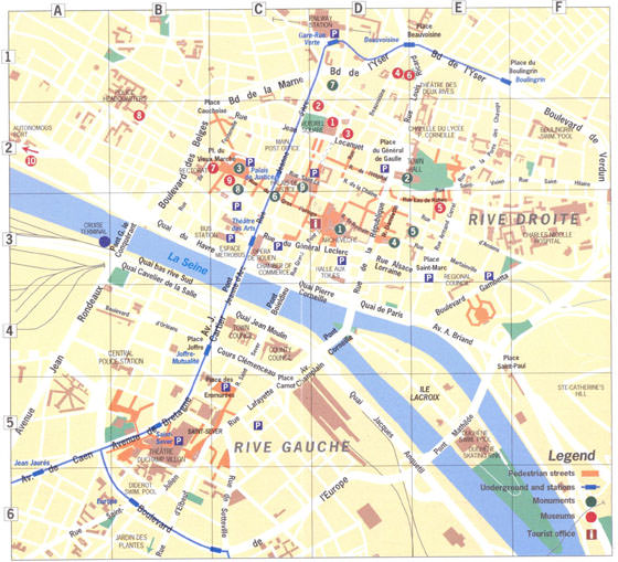 High-resolution map of Rouen for print or download