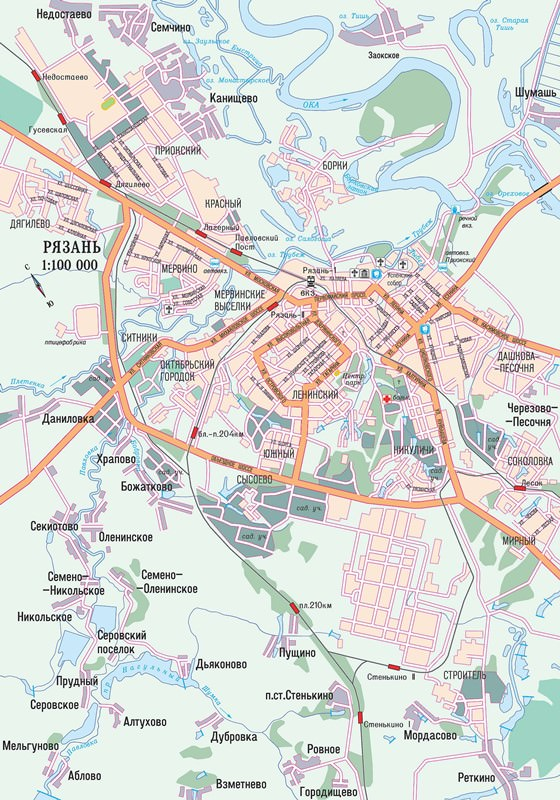 Detailed map of Ryazan 2