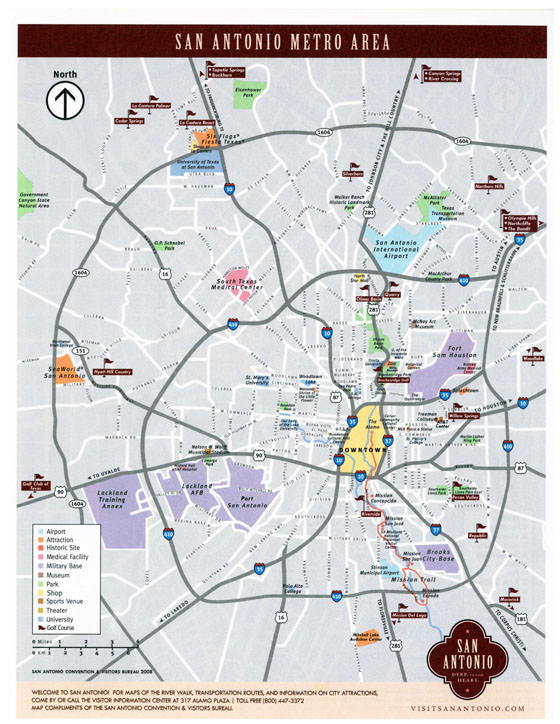 Große Karte von San Antonio 1