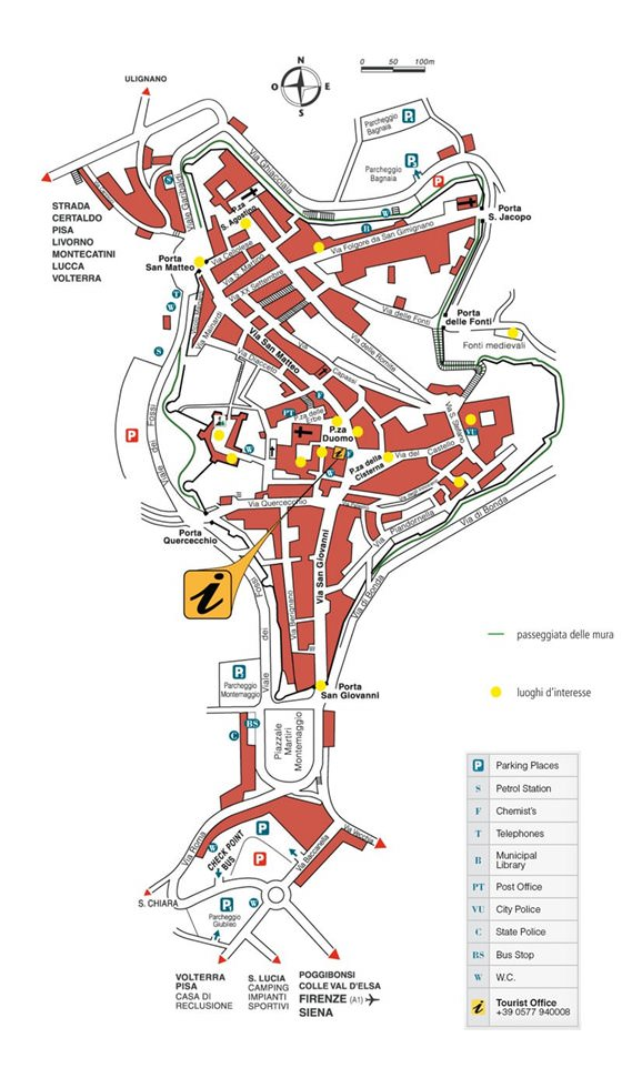 Detailed map of San Gimignano for print or download