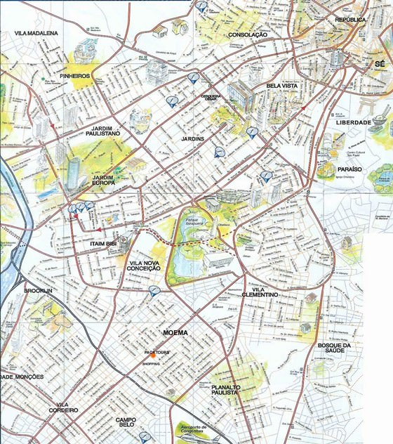 Large map of Sao Paulo 1
