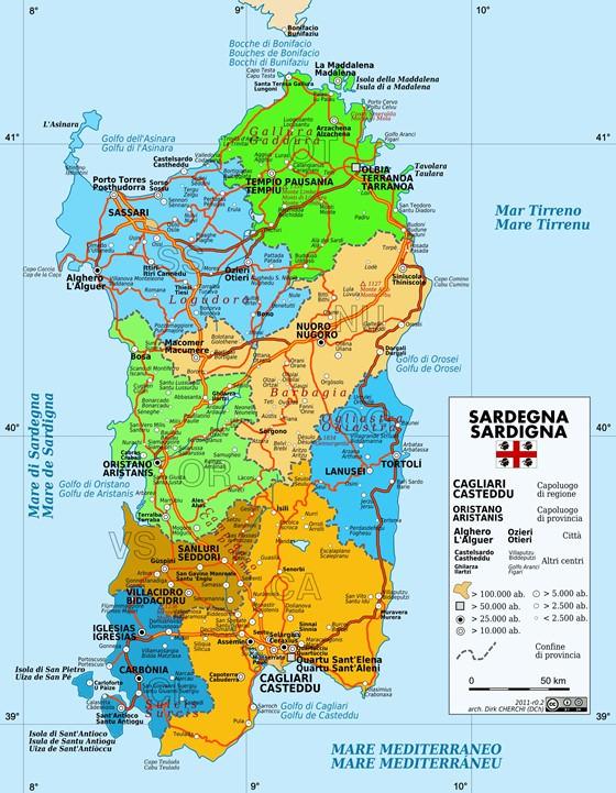 Mapa de Cerdeña  1