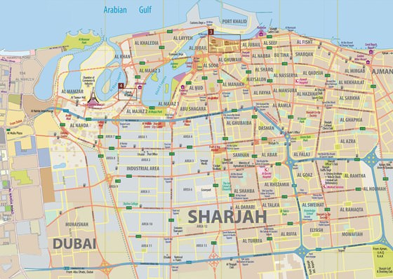Detailed map of Sharjah 2