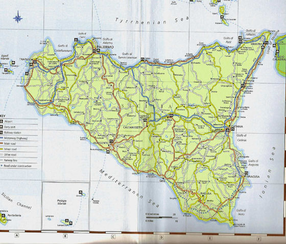 Large map of Sicily 1