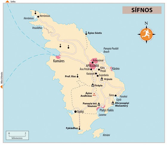 Large map of Sifnos Island 1