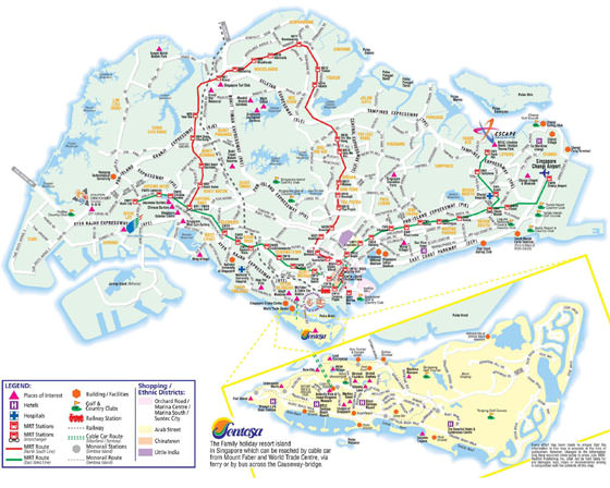 Detailed map of Singapore for print or download