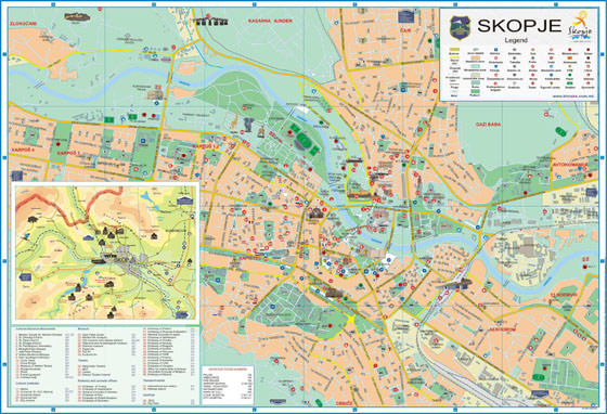 High-resolution map of Skopje for print or download
