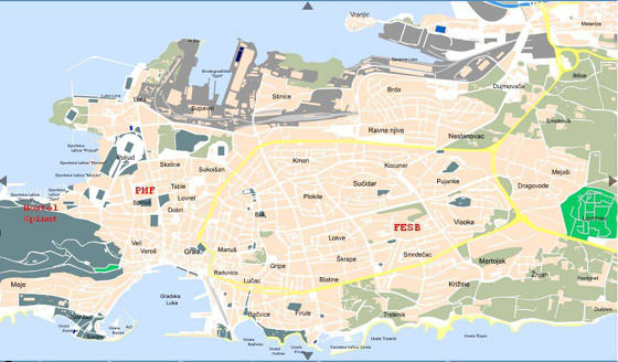 Detailed map of Split for print or download