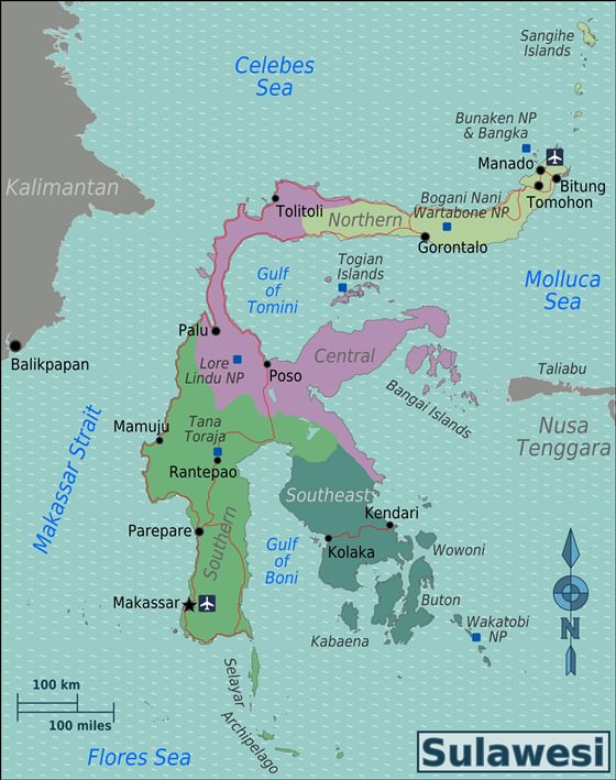 Large map of Sulawesi Island 3