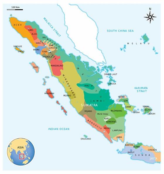 Detailed map of Sumatra 2