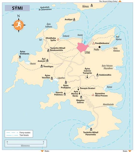 Детальная карта острова Сими 1