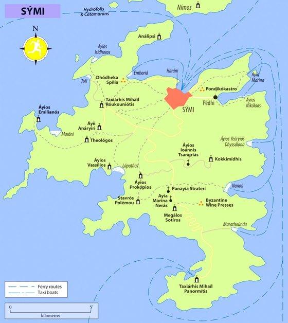 Детальная карта острова Сими 3