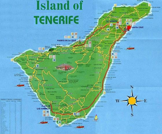 Detaillierte Karte von Teneriffa 2