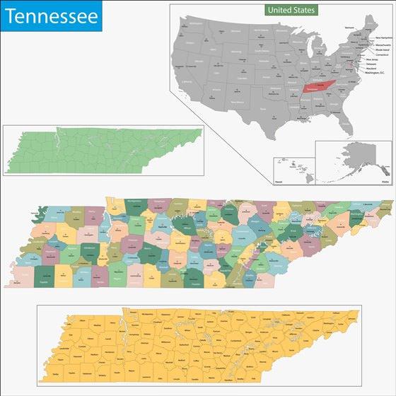 Карта Теннесси 1