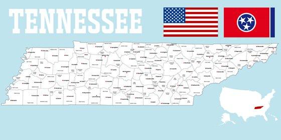 Карта Теннесси 2