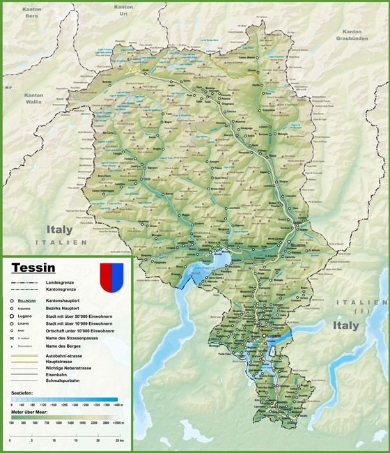 Large map of Ticino 1