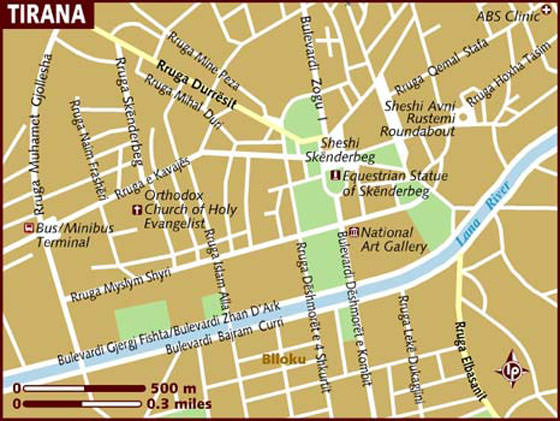 Detailed map of Tirana for print or download