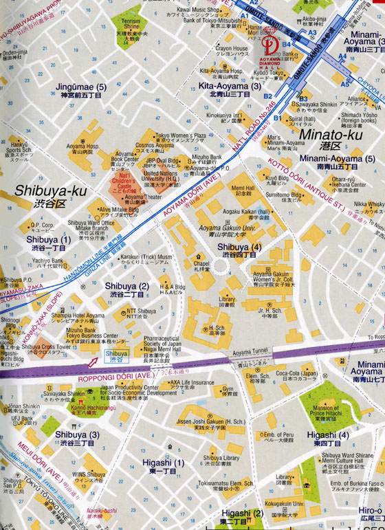 Detailed map of Tokyo 2