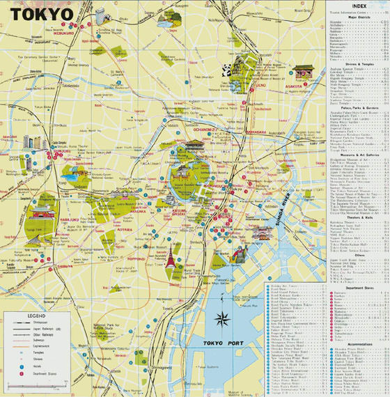 Tokyo Subway Map With Attractions.Tokyo Subway Map For Download Metro In Tokyo High Resolution Map