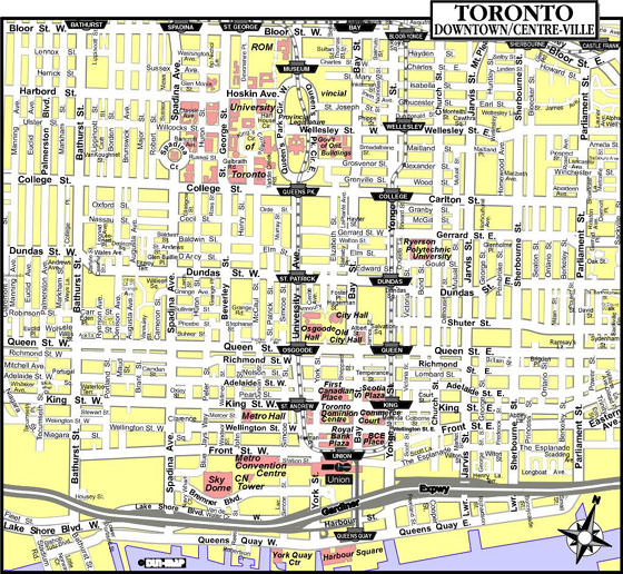 Toronto Subway Map With Streets.Toronto Subway Map For Download Metro In Toronto High Resolution