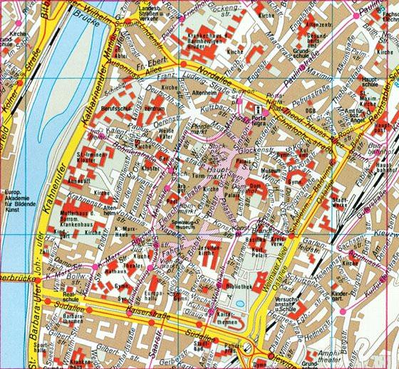 Detaillierte Karte von Trier 2