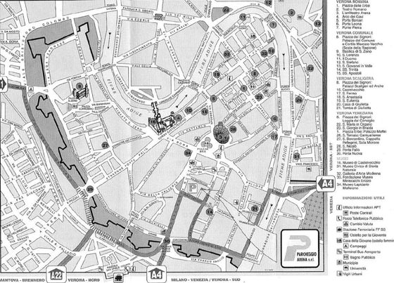 Detailed map of Verona for print or download